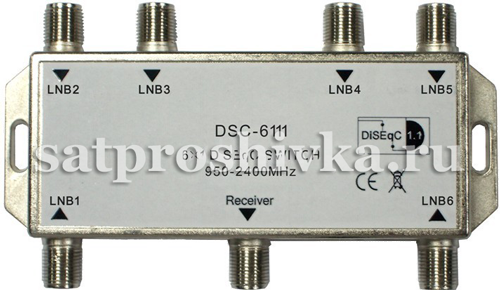 High quality lnb voltage selected multiswitch gsm-2601, diseqc 2 in 6 out, switch satellite
